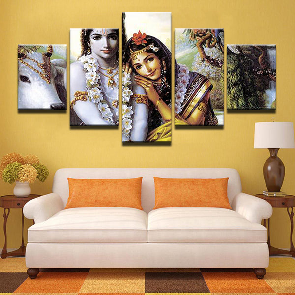 Radha Krishna Painting - Superior Quality Canvas Printed Wall Art Poster 5 Pieces / 5 Panel Wall Decor, Home Decor Pictures - With Wooden Frame - HolyHindu