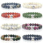 Natural Stone Beads Bracelets -  Jewelry - Semi-precious Red Stripe India Nature Charm Bangles - HolyHinduStore