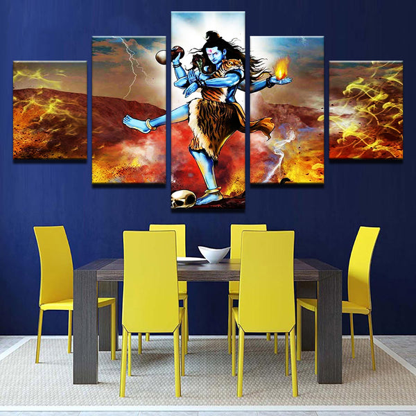 God Shiva painting - Superior Quality Canvas Printed Wall Art Poster 5 Pieces / 5 Panel Wall Decor, Home Decor Picture - HolyHinduStore