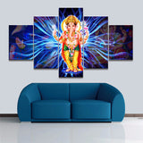 Painting Modular Decoration Home Decoration Frame 5 Pieces Canvas India God Ganesha Modern Wall Art - HolyHinduStore