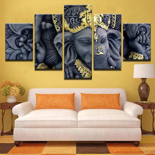 Lord Ganesha Painting - Superior Quality Canvas HD Printed Wall Art Poster 5 Pieces / 5 Panel Wall Decor, Home Decor Pictures - HolyHinduStore