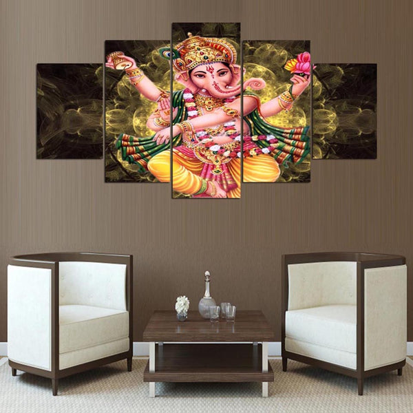 Lord Ganesha Painting - Superior Quality Canvas Printed Wall Art Poster 5 Pieces / 5 Panel Wall Decor, Home Decor Pictures - HolyHinduStore