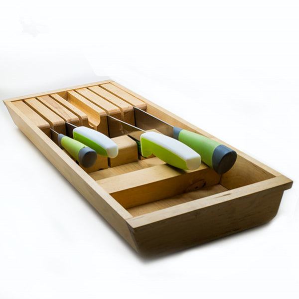 Eco-Friendly Wooden Kitchen Knife Holder / Creative Multi-Functional Kitchen Tool Organizer / Natural Wood Storage Box - HolyHinduStore