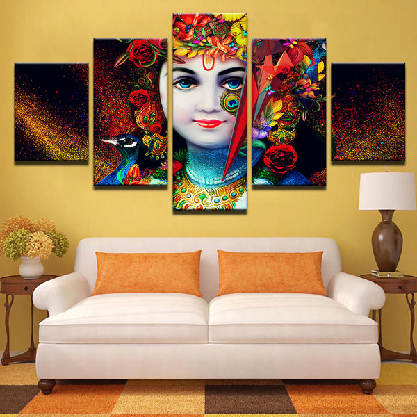Radha Krishna Painting - Superior Quality Canvas Printed Wall Art Poster 5 Pieces / 5 Panel Wall Decor, Home Decor Pictures  - With Wooden Frame - HolyHinduStore