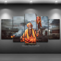 5 Panels Hindu Pundits  Shiva followers Artistic Printed Drawing on Canvas Spray Oil Painting Home Decor Living Room Wall Art Pictures - HolyHinduStore