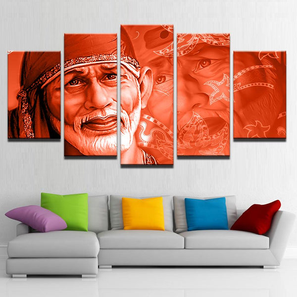 Sai Baba painting - Superior Quality Canvas Printed Wall Art Poster 5 Pieces / 5 Panel Wall Decor, Home Decor Pictures - HolyHinduStore