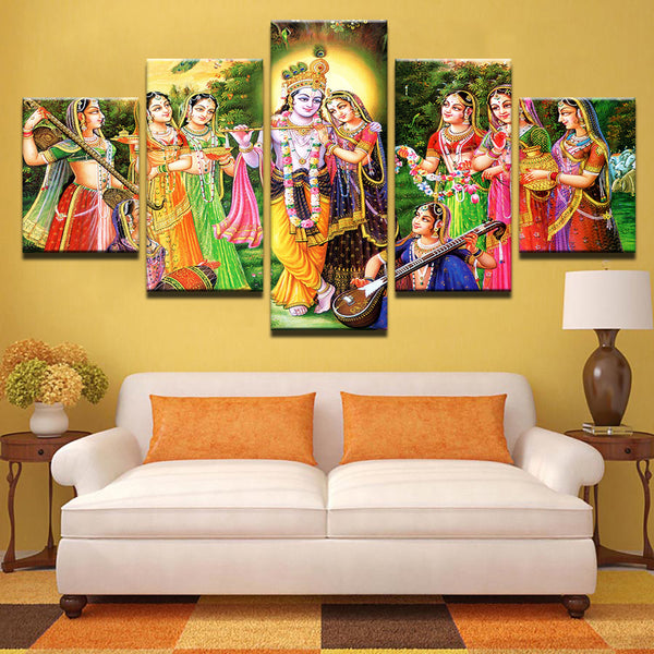 Lord Krishna Painting - Superior Quality Canvas Printed Wall Art Poster 5 Pieces / 5 Panel Wall Decor, Home Decor Pictures