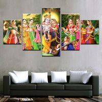 Lord Krishna Painting - Superior Quality Canvas Printed Wall Art Poster 5 Pieces / 5 Panel Wall Decor, Home Decor Pictures - HolyHinduStore