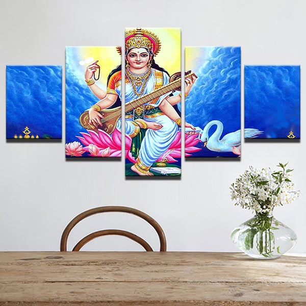 Home Decor Modular Decoration Painting Canvas Frame 5 Panel Sarswathi -  Knowledge  God Art Pictures Modern Wall For Living Room - HolyHinduStore