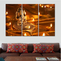 Canvas Painting Ganesha Wall Art Canvas Combination Painting Wall Pictures for Living Room Posters and Prints Landscape Q099 - HolyHinduStore