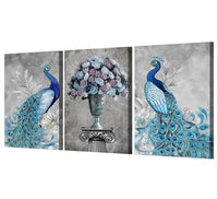 HD printed -  3 Piece Canvas Art Peacock Couple Natural Wall Art Painting Posters - HolyHinduStore