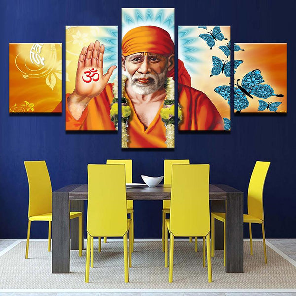 Sai Baba painting - Superior Quality Canvas Printed Wall Art Poster 5 Pieces / 5 Panel Wall Decor, Home Decor Pictures - With Wooden Frame - HolyHinduStore