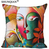 Radha Krishna Pillowcase Cover - Square zipper Pillow Cover - 20x20cm,35x35cm(one side) - HolyHinduStore