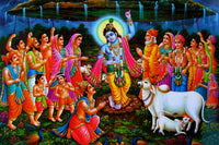 Govardhan / Krishna Puja poster  - Superior Quality Silk Fabric Home Decor - HolyHinduStore