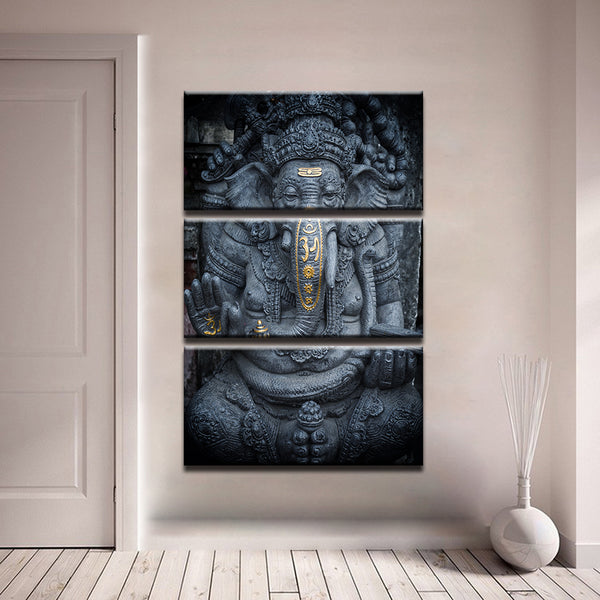 HD Prints Canvas Poster Framework 3 Pieces India Ganesha God Painting Wall Art Ganapati Lord Ganesha Pictures Living Room Decor - HolyHinduStore