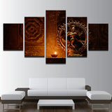 Shiva Nataraja Painting - Superior Quality Canvas Printed Wall Art Poster 5 Pieces / 5 Panel Wall Decor, Home Decor Pictures - HolyHinduStore