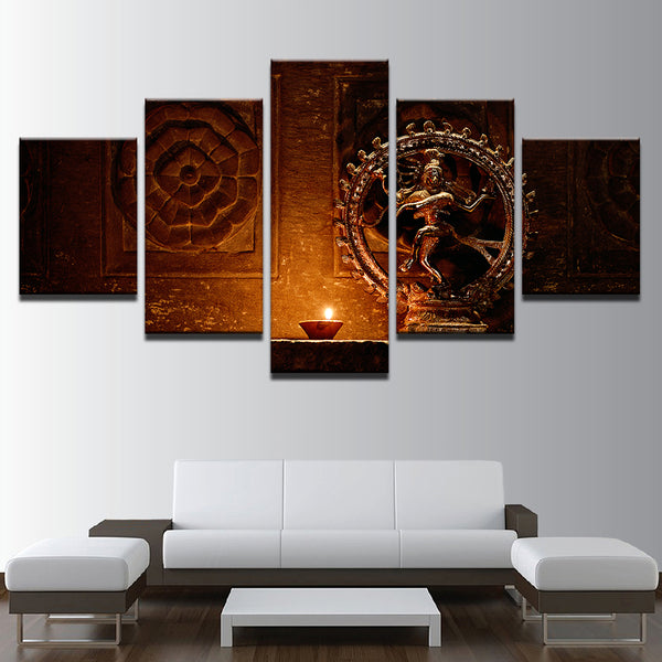 Canvas Paintings Wall Art HD Prints 5 Pieces Shiva Nataraja Statue Poster India God Vintage Pictures Living Room Decor Framework - HolyHinduStore