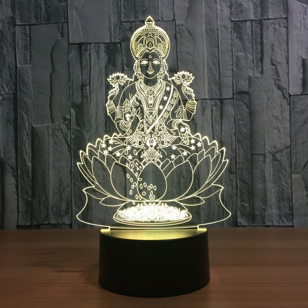 Goddess Lakshmi(Goddess of Wealth)  - 7 Color Changing Lamp / 3D Atmosphere Night Light  / LED Visual - HolyHinduStore