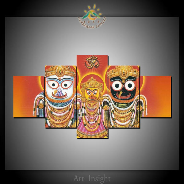 5 Pieces Hindu ISKCON Radha Krishna Modern Modular Decor New HD Printed Wall Art Decor Picture Painting On Canvas Painted For Decoration Home - HolyHinduStore