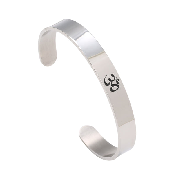 Ohm Hindu - Yoga India Stainless Steel Cuff/Bracelet for Men Women - HolyHinduStore