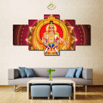 Lord Ayyappa Painting - Superior Quality Canvas Printed Wall Art Poster 5 Pieces / 5 Panel Wall Decor, Home Decor Pictures - HolyHinduStore