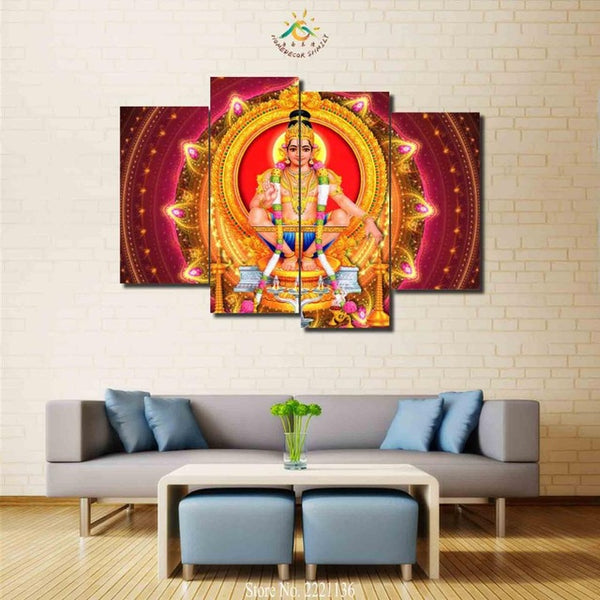 Lord Ayyappa Painting - Superior Quality Canvas Printed Wall Art Poster 4 Pieces / 4 Panel Wall Decor, Home Decor Pictures - HolyHinduStore