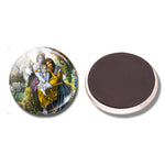 Krishna and Radha -  30MM (1.2 inch) Fridge Magnet / Refrigerator Stickers / Note Holder / Home Decor - HolyHinduStore