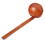 Natural Wood Wooden Long Handled Rice Soup Cooking Spoons Handmade Indian Style Kitchen Ladle Tableware - HolyHinduStore