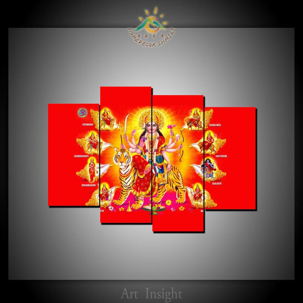 Hindu God Durga Matha Image Modern New HD Printed Wall Art - HolyHinduStore
