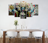 Goddess Kali Painting - Superior Quality Canvas Printed Wall Art Poster 5 Pieces / 5 Panel Wall Decor, Home Decor Picture - HolyHinduStore