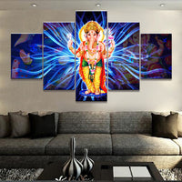 HD Home Decor Frame Canvas Living Room Modern Pictures 5 Pieces Canvas India God Ganesha Wall Art Modular Poster Painting - HolyHinduStore