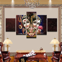 Shiva Parvati Ganesha Painting - Superior Quality Canvas Printed Wall Art Poster 5 Pieces / 5 Panel Wall Decor, Home Decor Pictures - HolyHinduStore