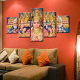 Shiva Vishnu Ganesha Painting - Superior Quality Canvas HD Printed Wall Art Poster 5 Pieces / 5 Panel Wall Decor, Home Decor Pictures - HolyHinduStore
