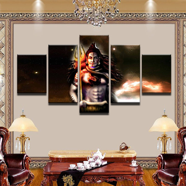 Lord Shiva Painting - Superior Quality Canvas HD Printed Wall Art Poster 5 Pieces / 5 Panel Wall Decor, Home Decor Pictures - HolyHinduStore