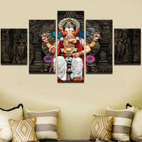 Lord Ganesha Painting Framed Canvas Painting Wall Art  For Living Room Bedroom Home Decor - HolyHinduStore