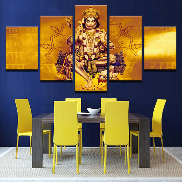 5 Pieces  Lord Hanuman Shri Ram Paintings Canvas Prints Wall Art Picture Home Decor For Living Room Poster Framed - HolyHinduStore