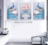 HD printed -  3 Piece Canvas Art Peacock Couple Natural Wall Art Painting Posters - pink - HolyHinduStore