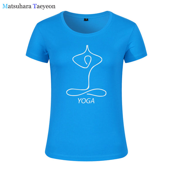 Fashion Women clothing Buddhist Yoga Print Tee T-shirt Women - HolyHinduStore