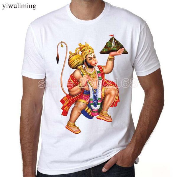 Hanuman Indian men short sleeve T-shirt Fashion Brand t shirt for men summer - HolyHinduStore
