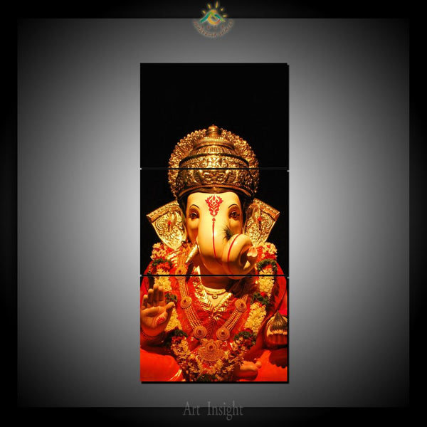 Lord Ganesha Wall Art - HD Printed Canvas Painting / 3 Pieces/ Modular Pictures / Home Decor - HolyHinduStore