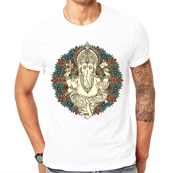 Fashion short sleeve design Lord God Ganesha printed men t-shirt cool men's tee shirts tops men T-shirt casual men t shirt - HolyHinduStore