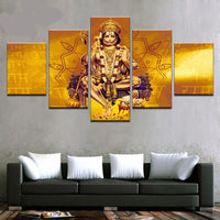Lord Hanuman - Superior Quality Canvas HD Printed Wall Art Poster 5 Pieces / 5 Panel Wall Decor, Home Decor Pictures - HolyHinduStore