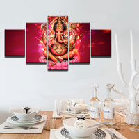 HD Printed Wall Art Canvas Poster 5 Pieces India Tibetan Ganesha Painting For Living Room Elephant Head God Pictures Home Decor - HolyHinduStore