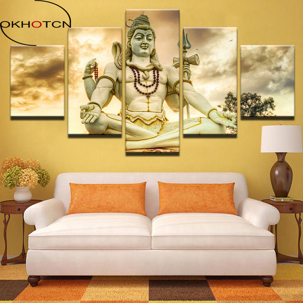 HD Prints Picture Home Decor Modular Canvas Wall Art Poster 5 Pieces India God Lord Shiva Painting