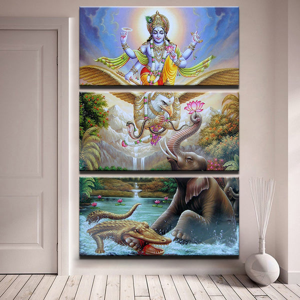 Canvas Pictures HD Prints Wall Art 3 Pieces Hindu Lord God Vishnu Krishna  Seated On Garuda Painting Home Decor Elephant Poster Framework