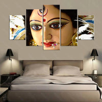 Wall Art Canvas Painting Hindu god goddess Durga (Kali) Pictures For Living Room 5 Panel - HolyHinduStore