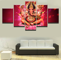 Wall Art Modern Canvas Printed Ganesha God Picture 5 Piece - HolyHinduStore