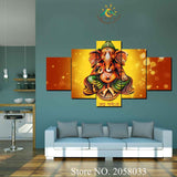 3-4-5 Pieces Ganesh Lord Pictures Modern Wall Art Canvas Printed Painting HD Prints Modular Poster Wall Pictures for Home Decor - HolyHinduStore