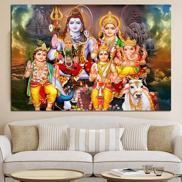 Shiva Parvati Ganesha HD Canvas Painting Wall Art / Home Decor / One Piece Wall Art - HolyHinduStore
