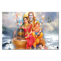 Lord Shiva, Parvati, Ganesha Canvas Painting - 1 Panel - HolyHinduStore